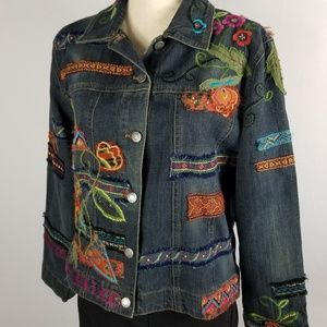 Chico's | Embroidery and Patchwork Jean Jacket